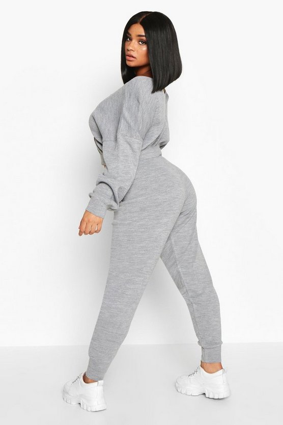 Plus Cropped V Neck Knitted Lounge Set
