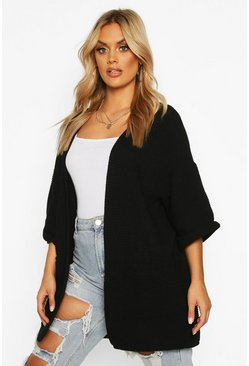 Black Plus Pocket Front Knitted Slouchy Cardigan