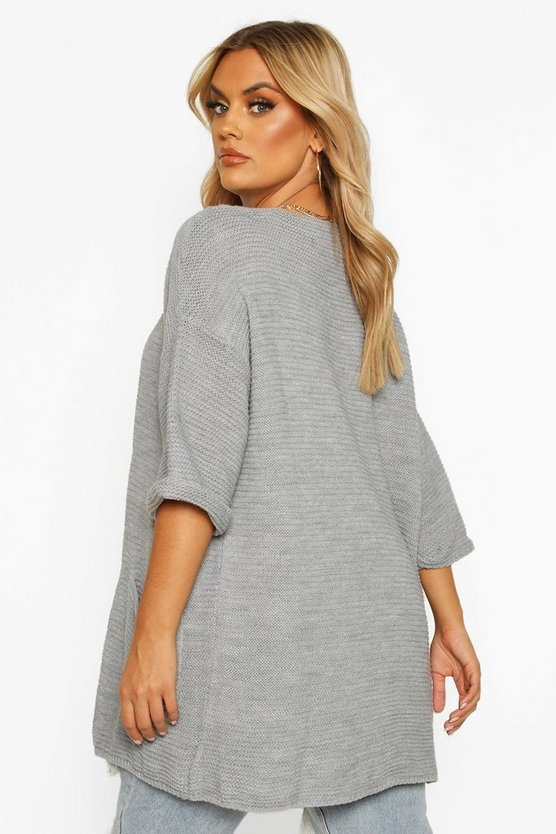 Plus Long Line Knitted Cardigan