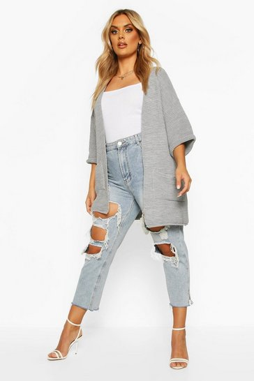 Womens Grey Plus Long Line Knitted Cardigan