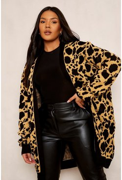 Womens Tan Plus Jacquard Animal Print Cardigan