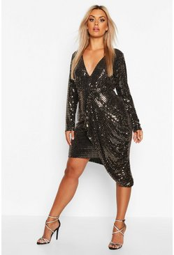 Womens Gold Plus Metallic Plunge Drape Midi Dress