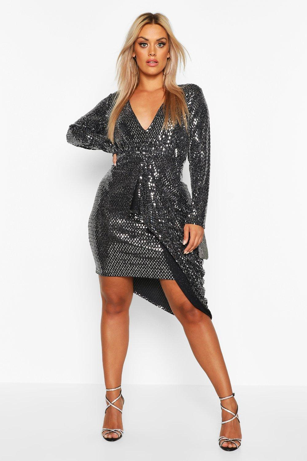 Vintage Rompers, Playsuits | Retro, Pin Up, Rockabilly Playsuits Womens Plus Sequin Wrap romper - grey - 14 $22.00 AT vintagedancer.com