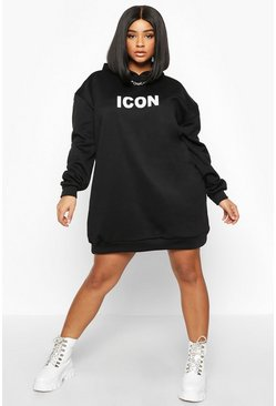 Womens Black Plus Original Oversized Hooded Sweat Dress
