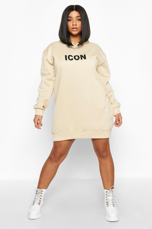womens plus original oversized hooded sweat dress - beige - 24