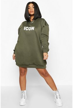 Khaki Plus Original Oversized Hooded Sweat Dress