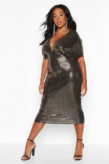 Womens Gold Plus Sequin Kimono Sleeve Midi Dress