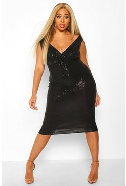 Womens Black Plus Sequin Bardot Midi Dress