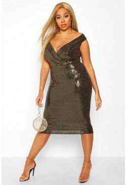 Womens Gold Plus Sequin Bardot Midi Dress
