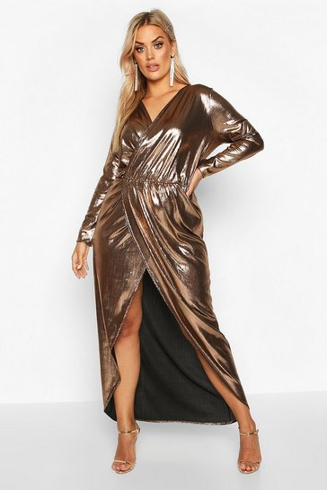 Womens Gold Plus Metalic Wrap Maxi Dress