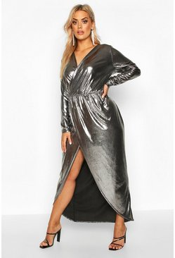 Plus Maxi-Wickelkleid in Metallic-Optik, Silber, Damen