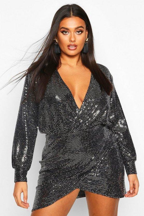 Plus Sequin Wrap Dress