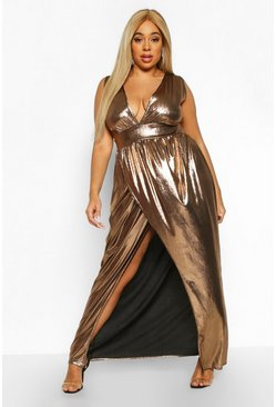 Womens Bronze Plus Metallic Plunge Wrap Maxi Dress