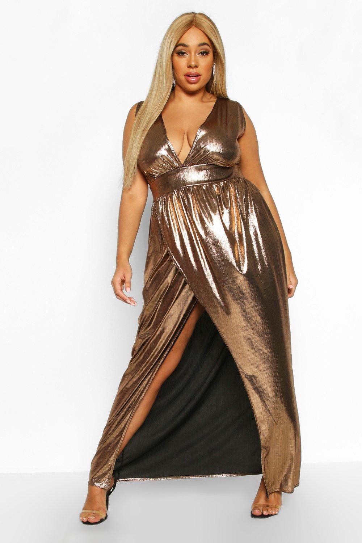 Plus Metallic Plunge Wrap Maxi Dress 2