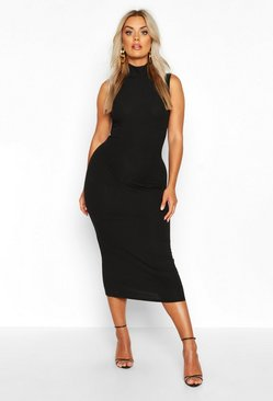 Womens Black Plus Jumbo Rib High Neck Midi Dress