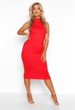 Red Plus Jumbo Rib High Neck Midi Dress