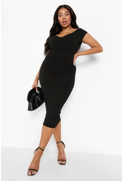 Womens Black Plus Jumbo Rib Bardot Midi Dress