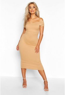 Womens Gold Plus Jumbo Rib Bardot Midi Dress