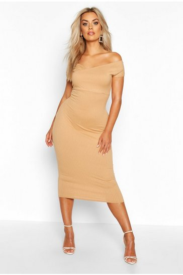 Gold Plus Jumbo Rib Bardot Midi Dress