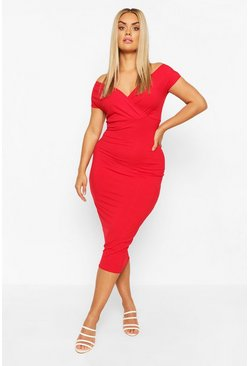 Red Plus Jumbo Rib Bardot Midi Dress
