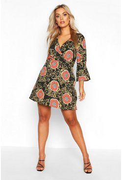 Womens Black Plus Chain Print Wrap Skater Dress