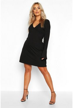 Womens Black Plus Jumbo Rib Deep Plunge Ruffle Shift Dress
