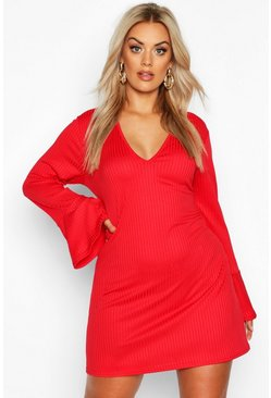 Womens Red Plus Jumbo Rib Deep Plunge Ruffle Shift Dress