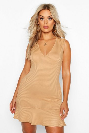 Womens Gold Plus Plunge Jumbo Rib Frill Hem Mini Dress