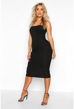 Black Plus Jumbo Rib Bandeau Midi Dress