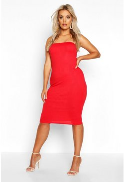 Red Plus Jumbo Rib Bandeau Midi Dress