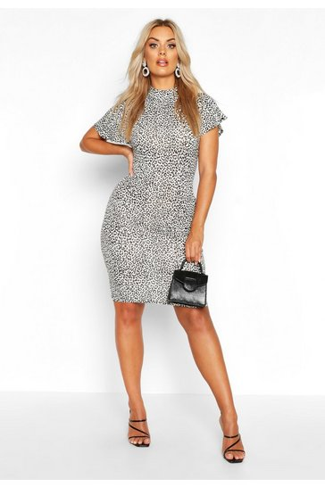 Womens White Plus Snow Leopard High Neck Bodycon Dress
