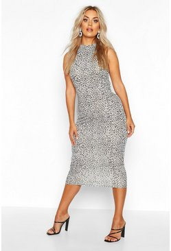 White Plus Snow Leopard High Neck Midi Dress