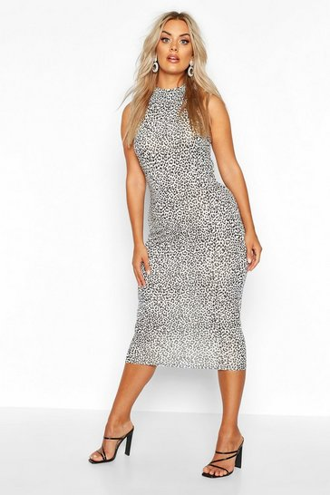 Womens White Plus Snow Leopard High Neck Midi Dress