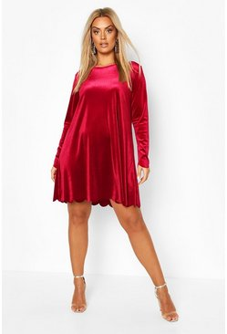 Womens Wine Plus Scallop Edge Velvet Shift Dress