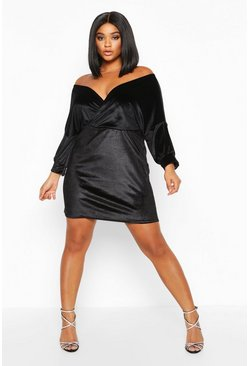 Womens Black Plus Velvet Off The Shoulder Wrap Bodycon Dress