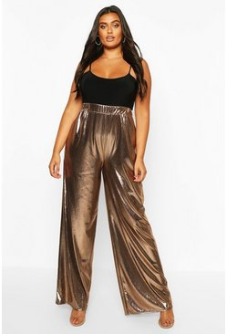 Bronze Plus Metallic Wide Leg Trouser