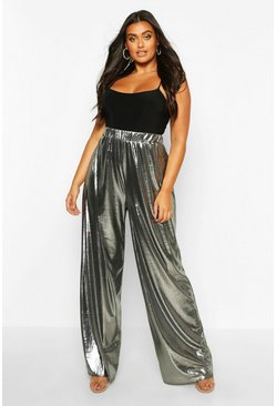 Gun metal Plus Metallic Wide Leg Trouser
