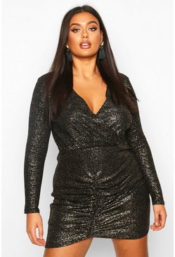 Black Plus Glitter Metallic Ruched Wrap Dress