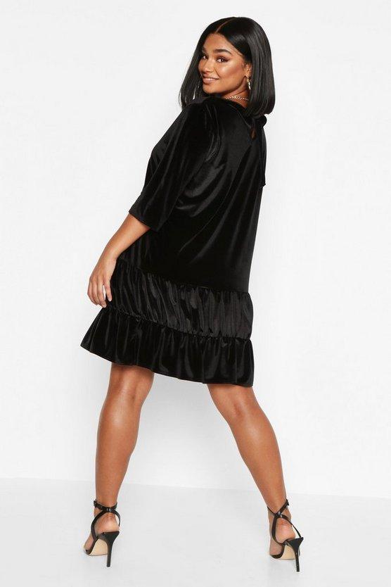 Plus Velvet Tiered Smock Dress