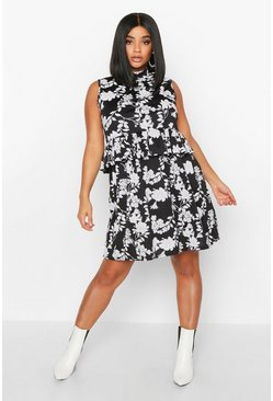 Black Plus Floral Ruffle High Neck Smock Dress
