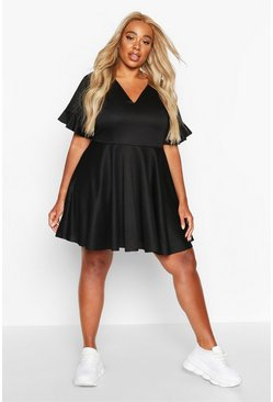 Womens Black Plus Ruffle Sweat Smock Dress