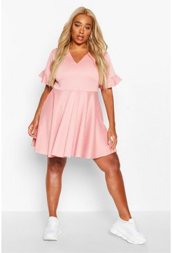 Womens Blush Plus Ruffle Sweat Smock Dress