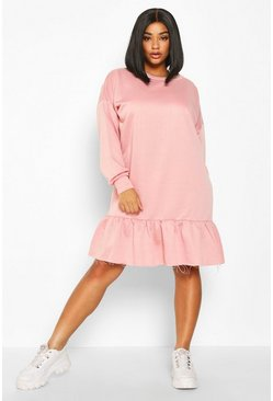 Womens Blush Plus Drop Hem Ruffle Sweat Dress