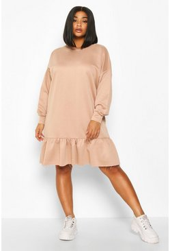 Stone Plus Drop Hem Ruffle Sweat Dress
