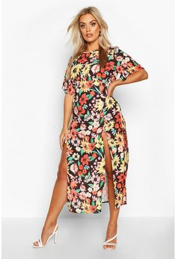 Womens Black Plus Floral Angel Sleeve Midi Dress