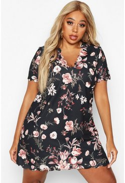 Black Plus Scallop Edge Floral Shift Dress