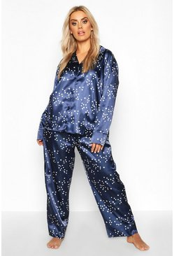 Womens Navy Plus Satin Star Print Trouser PJ Set