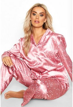 Pink Plus Satin Star Print Trouser PJ Set
