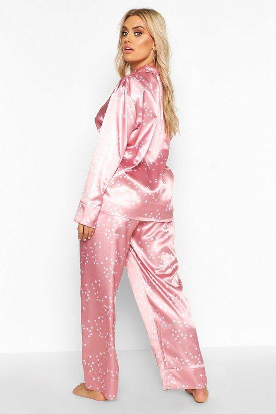 Plus Satin Star Print Trouser PJ Set