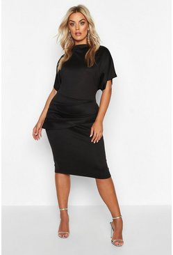 Black Plus Scuba High Neck Wide Sleeve Midi Dress